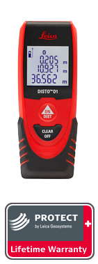 DISTO D1 with Leica Protect Lifetime Warranty. Next day delivery.