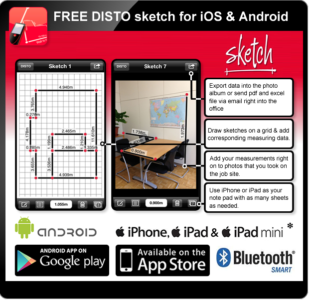 Leica DISTO D2 Bluetooth - Disto Sketch for iOS - Bluetooth Smart